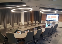 22-seats luxury boardroom table with integrated videoconference